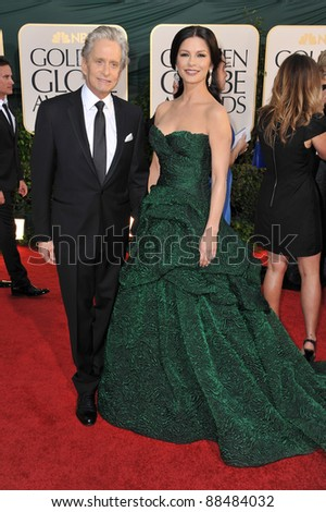 Michael Douglas & Catherine Zeta-Jones at the 68th Annual Golden Globe Awards at the Beverly Hilton Hotel. January 16, 2011  Beverly Hills, CA Picture: Paul Smith / Featureflash - stock photo