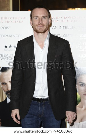 "Michael Fassbender arriving for the premiere of ""A Dangerous Method"" at the Mayfair Hotel, London. 31/01/2012  Picture by Steve Vas/Featureflash"