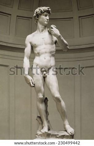 Michelangelo (1475-1564), David, 1501-1504, Renaissance art, Cinquecento, Sculpture on marble, - stock photo