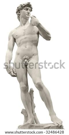 Michelangelo's David isolated on white by clipping path. Piazza della Signoria, Firenze, Italy. - stock photo