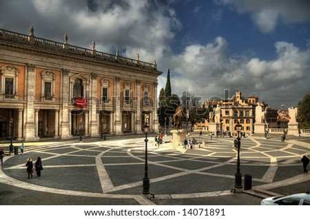 Michelangelo's Piazza del Campidoglio in Rome's Capitol Hill. Pseudo HDR created from a single RAW image. - stock photo