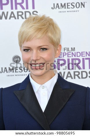 Michelle Williams at the 2012 Film Independent Spirit Awards on the beach in Santa Monica, CA. February 25, 2012  Santa Monica, CA Picture: Paul Smith / Featureflash