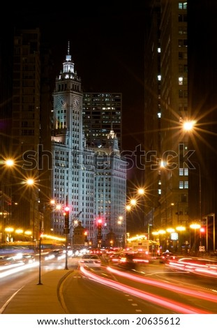 Michigan Avenue at Night - stock photo