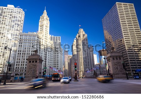 Michigan Avenue Bridge and Magnificent Mile in Chicago, IL, USA - stock photo