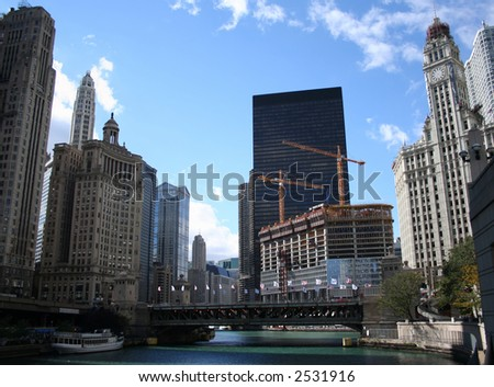 Michigan Avenue bridge and Wrigley building Chicago - stock photo