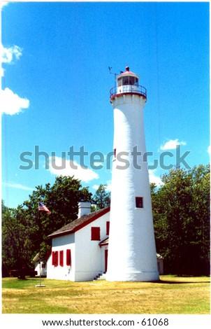 Michigan lighthouse - stock photo