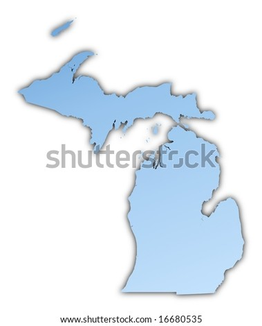 Michigan(USA) map light blue map with shadow. High resolution. Mercator projection. - stock photo