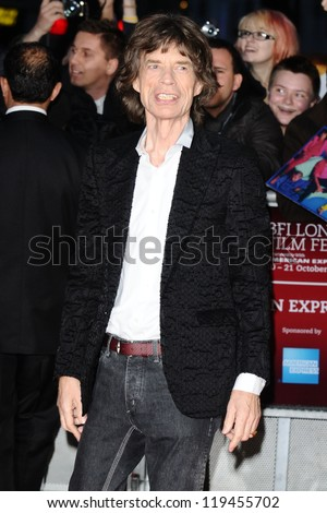 "Mick Jagger at the premiere for ""Crossfire Hurricane"" being shown as part of the London Film Festival 2012, Odeon Leicester Square, London 18/10/2012 Picture by: Steve Vas - stock photo"