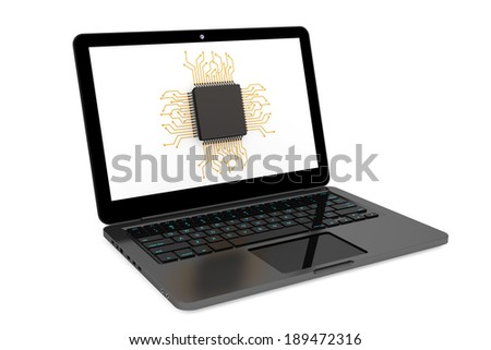 Micro chip and Modern Laptop on a white background - stock photo