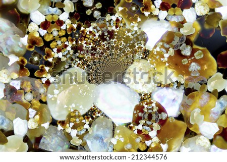 Micro photography of sand grains in polarized light, kaleidoscopic - stock photo