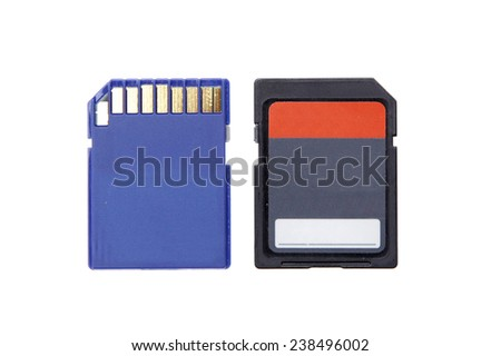 micro sd  memory for camera computer compact flash isolated - stock photo