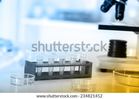 Micro tubes with biological samples in laboratory for DNA analysis - stock photo