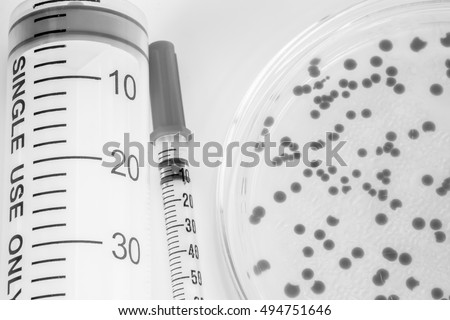 microbiology laboratory test with black and white color style