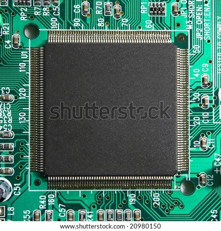 Microchip and pcb macro - stock photo