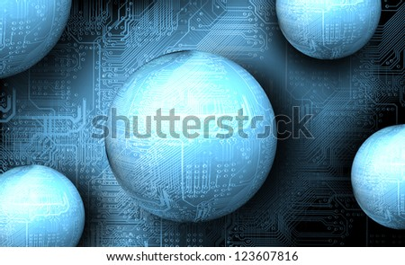 Microchip background - abstract technology concept - stock photo