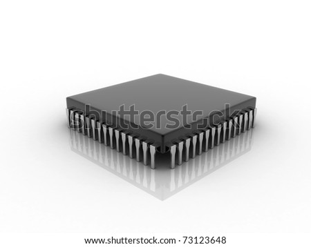 microchip Digital illustration of microchip in white background - stock photo