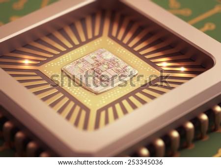 Microchip on board. Depth of field in the core. - stock photo