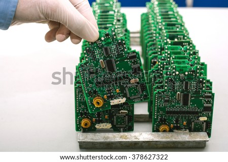 microchip production factory - stock photo