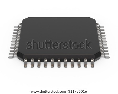 Microchip unit isolated on white, side view. Computer chipset circuit. Computer hardware parts concept. Technology, electronic industry, research and development, future gadgets concept.