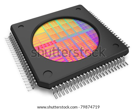Microchip with visible die isolated on white background - stock photo