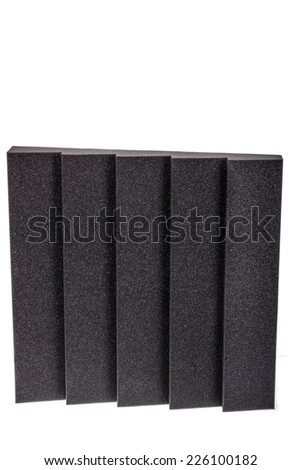 microfiber foam insulation for noise in music studio or acoustic halls , rooms or houses , professional studio insulation material , noise isolation , noise isolating protective and shock absorber - stock photo