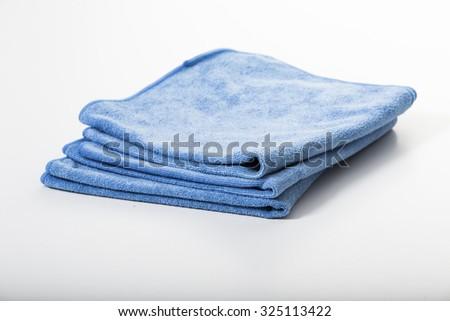 Microfiber towel for car wipe. - stock photo