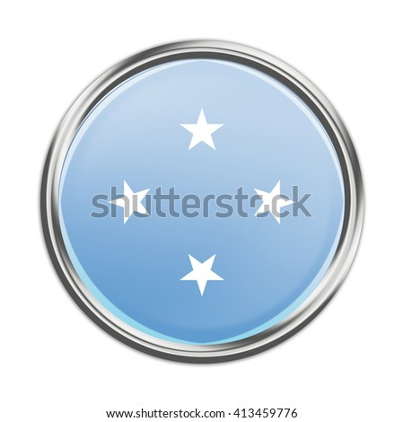 Micronesia flag button - stock photo