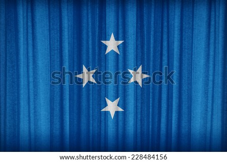 Micronesia flag pattern on the fabric curtain,vintage style - stock photo