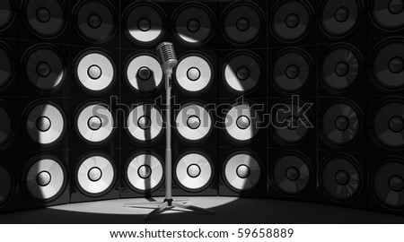 microphone and audio background (done in 3d) - stock photo