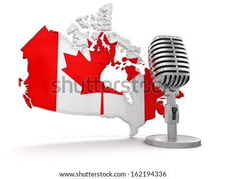 Microphone and Canada (clipping path included) - stock photo