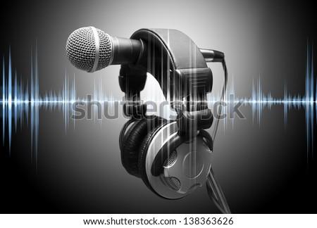 microphone and headphones. Concept audio and studio recording - stock photo