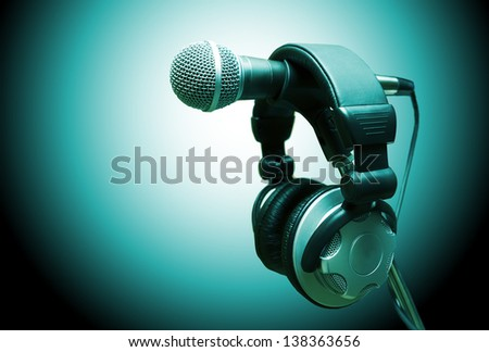 microphone and headphones. Concept audio and studio recording - stock photo