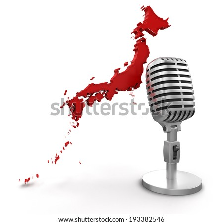 Microphone and Japan (clipping path included) - stock photo