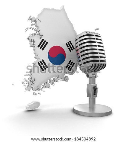 Microphone and South Korea (clipping path included) - stock photo