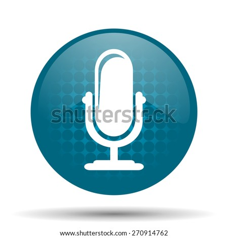 microphone blue glossy web icon  - stock photo