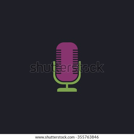 Microphone. Color flat icon on black background