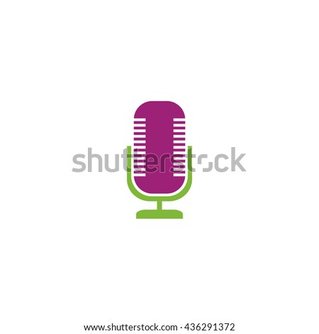Microphone. Color simple flat icon on white background