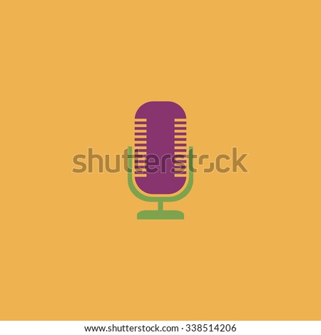 Microphone. Colored simple icon. Flat retro color modern illustration symbol