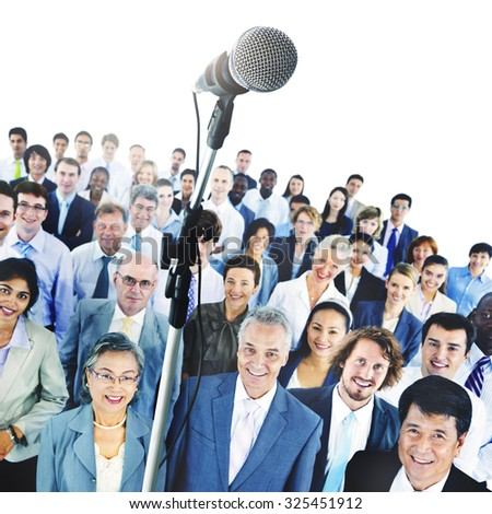 Microphone Conference Meeting Seminar Business People Concept - stock photo