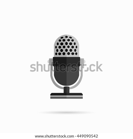 Microphone design flat isolated icon, vintage microphone stand, sound media, record vocal musical web broadcasting microphone  illustration - stock photo