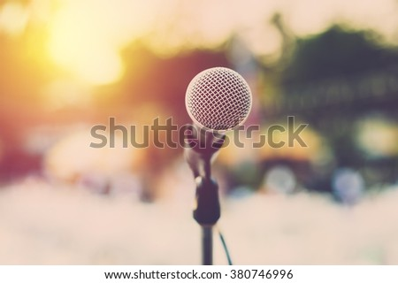 Microphone for concert outdoor event. Vintage filter - stock photo