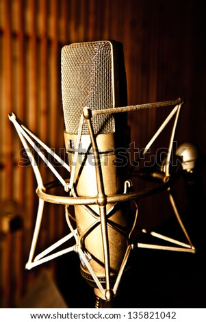 microphone hanging in the studio - stock photo