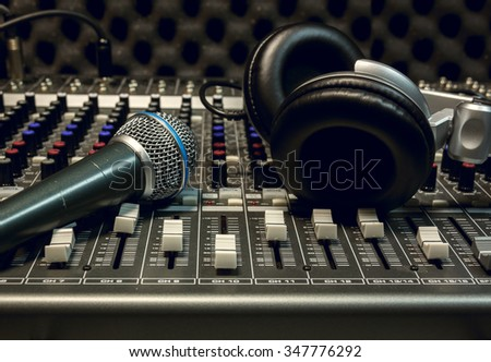 microphone,headphone,sound mixer background. - stock photo