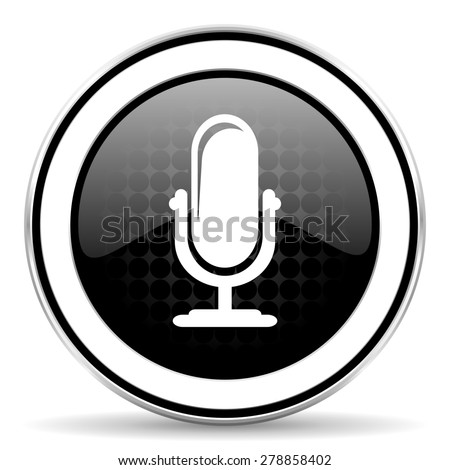 microphone icon, black chrome button, podcast sign  - stock photo