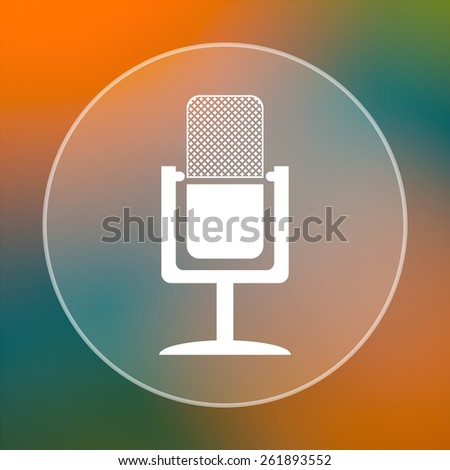 Microphone icon. Internet button on colored  background.  - stock photo