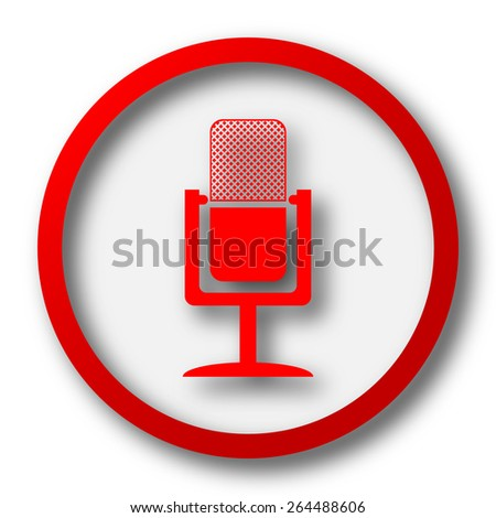 Microphone icon. Internet button on white  background.  - stock photo
