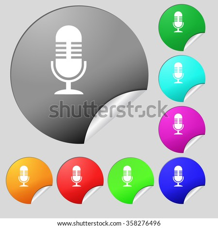 microphone icon sign. Set of eight multi colored round buttons, stickers. illustration - stock photo