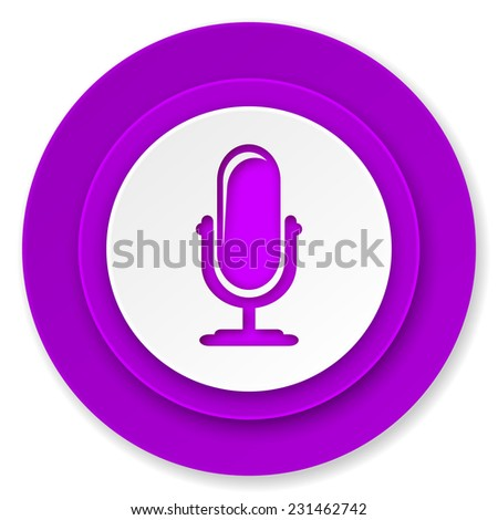 microphone icon, violet button, podcast sign  - stock photo