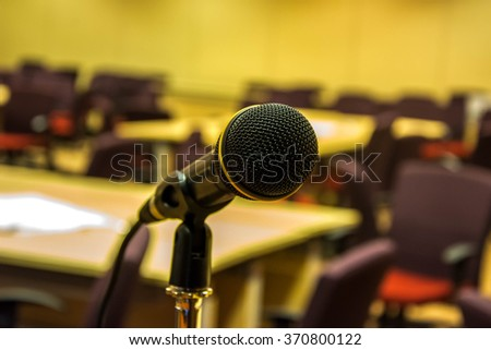 Microphone in concert hall or conference room.