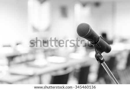 Microphone in conference hall before business meeting